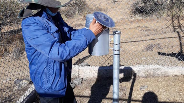 El equipo técnico de la OTN-PB realizaron la revisión del pluviómetro y el mantenimiento de las estaciones de Chocloca y Canchasmayo